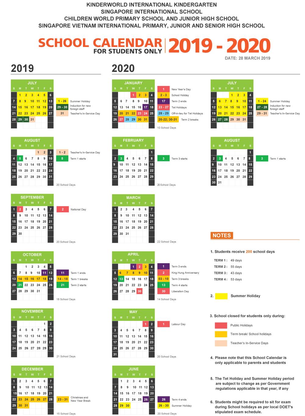 School calendar - KinderWorld International Kindergarten